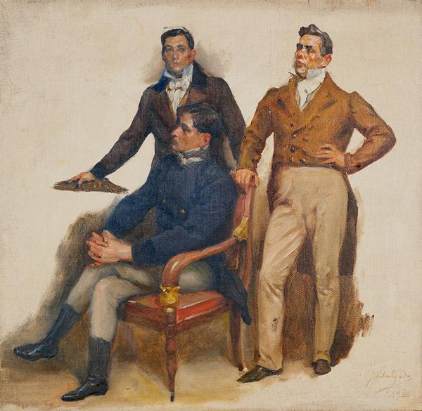 Retratos de José Ferreira de Moura, Agostinho José Freire e Manuel Borges Carneiro. Estudos para a tela Cortes Constituintes de 1821, de Veloso Salgado, 1920