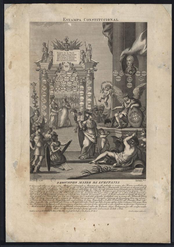 """""""O triunfo maior da Lusitânia: estampa constitucional"""", gravura de Luís António, 1821. Biblioteca Nacional de Portugal"""