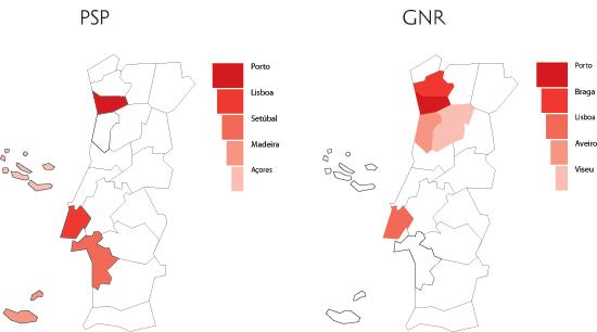 Distribuição territorial das queixas - distritos com maior incidência em 2004 (fonte: PSP + GNR)