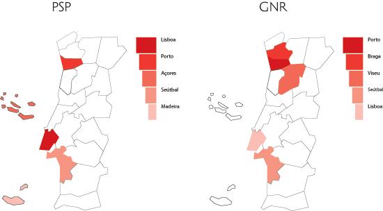 Distribuição territorial das queixas - distritos com maior incidência em 2005 (fonte: PSP + GNR)